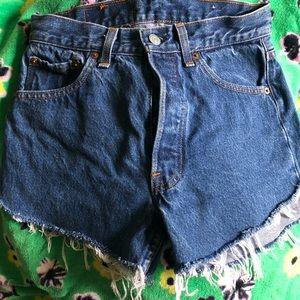 high waisted handmade Levi's frayed cut off shorts